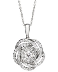 Wrapped In Love Diamond Knot Pendant Necklace In 14K White Gold 1 Ct. T.W.