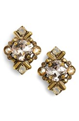 Sorrelli Shielded Crystal Stud Earrings Beige