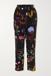 Stella Mccartney Christine Floral Print Silk Crepe Straight Leg Pants Black