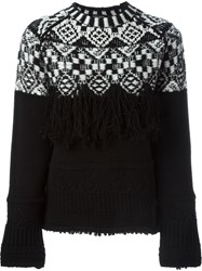 Marcelo Burlon County Of Milan Fringed Intarsia Sweater Black