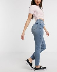 Pieces Molly Mid Waist Slim Jeans In Light Blue