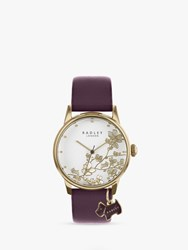 Radley 'S Floral Leather Strap Watch Purple White Ry2688