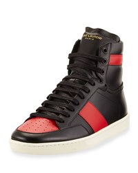 Saint Laurent Contrast Stripe Leather High Top Sneaker Men's Size 42.5Eu 9.5D Black Red