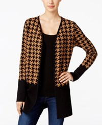 Charter Club Colorblocked Houndstooth Cardigan Only At Macy's Salty Nut Cmb