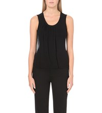 Karen Millen Sleeveless Silk And Jersey Top Black