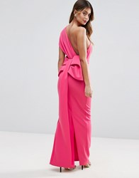 Asos Premium One Shoulder Bow Back Maxi Dress Pink