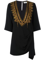 Saint Laurent Metallic Embroidered Kaftan Black