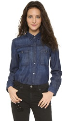 7 For All Mankind Braided Denim Shirt Feather Blue