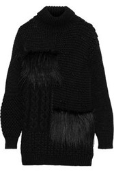 Simone Rocha Woman Faux Fur Trimmed Alpaca Blend Turtleneck Sweater Black