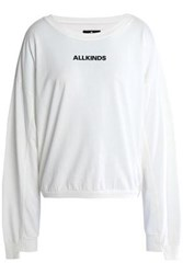 7 For All Mankind Printed Cotton Jersey Sweatshirt Off White Off White