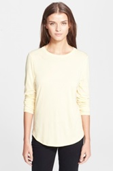 Vince Basic Long Sleeve Crewneck Tee Yellow