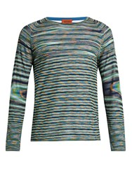 Missoni Long Sleeved Striped Cotton Top Blue Multi