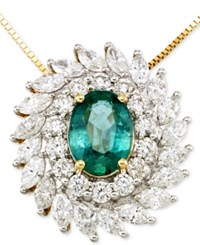 Rare Featuring Gemfield's Rare Featuring Gemfields Certified Emerald 9 10 Ct. T.W. And Diamond 1 1 4 Ct. T.W. Pendant Necklace In 14K Gold