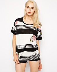 Pencey Standard Panelled Striped Oversized T Shirt Black