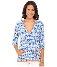 Lilly Pulitzer Upf 50 Gabi Luxletic Popover Bomber Blue Get Trunky Women's Sweater
