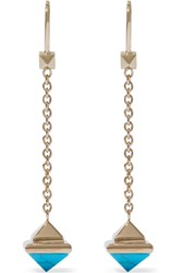 Valentino Gold Plated Turquoise Earrings Turquoise Gold