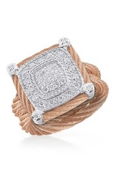 Alor 18K Rose Gold Stainless Steel Diamond Ring Size 6.5 0.33 Ctw Pink