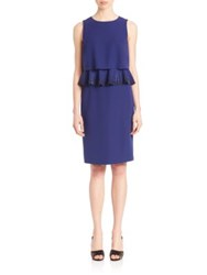 Armani Collezioni Beaded Peplum Dress Royal Blue