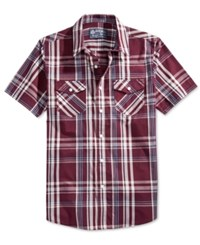 American Rag Men's Walsh Plaid Short Sleeve Shirt Only At Macy's Dark Scarlet