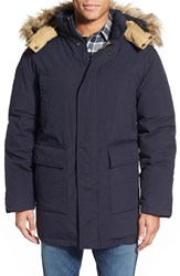 Men's Schott Nyc 'Iceberg' Waterproof Down Parka With Faux Fur Trim Navy