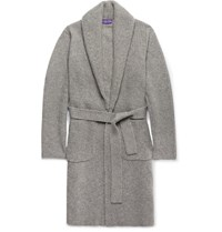 Ralph Lauren Purple Label Shawl Collar Ribbed Cashmere Belted Cardigan Gray