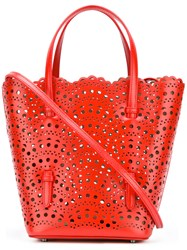Alaia Scalloped Style Tote Bag Red
