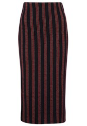 Pinko Fahrenheit Pencil Skirt Blu Rosso Dark Blue