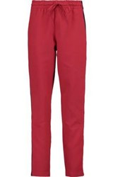Maje Striped Ribbed Knit Trimmed Tapered Pants Red