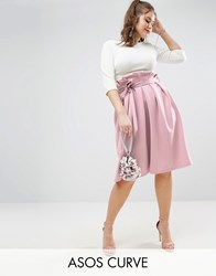 Asos Curve Scuba Prom Skirt With Paperbag Waist Pink