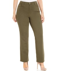 Charter Club Plus Size Tummy Control Straight Leg Jeans Autumn Sage Wash Only At Macy's