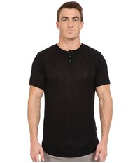 Publish Amadeo Mock Twist Knit Short Sleeve Henley Black Men's Clothing