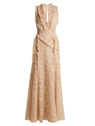 Altuzarra Medina Valencienne Lace Ruffle Trimmed Dress Beige