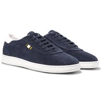 Aprix Leather Trimmed Suede Sneakers Midnight Blue
