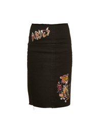 Aries Embroidered Patches Denim Skirt