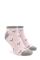 Forever 21 Bunny Face Print Ankle Socks Pink Multi
