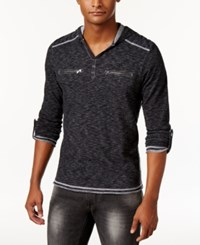 Inc International Concepts Men's Heathered Henley Hoodie Only At Macy's Deep Black