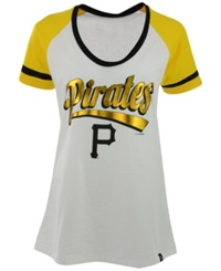 5Th And Ocean Women's Pittsburgh Pirates Athletic Foil T Shirt White Black