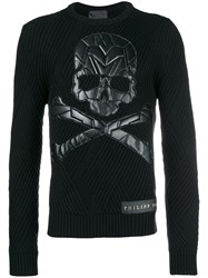 Philipp Plein Skull Patch Chunky Knit Sweater Black