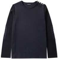 Balmain Button Epaulette Crew Sweat Blue
