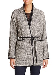 Rebecca Taylor Faux Leather Trim Tweed Coat Black White