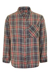 Topshop Washed Tartan Check Shirt Red
