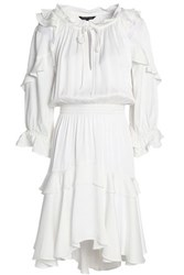 Marissa Webb Tulle Trimmed Ruffled Satin Crepe Dress White