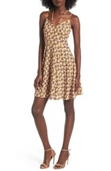 Soprano Women's Strappy Fit And Flare Dress 1033 Mustard