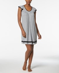 Ellen Tracy Yours To Love Short Sleeve Chemise Grey Heather Dot