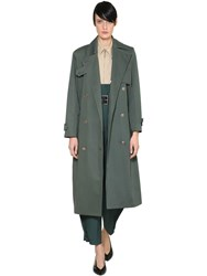 Givenchy Double Breasted Cotton Trench Coat Blue