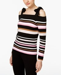 Inc International Concepts Cold Shoulder Bow Sweater Only At Macy's Deep Black