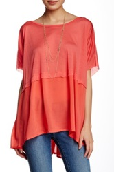 Hip Knit To Woven Tee Juniors Pink