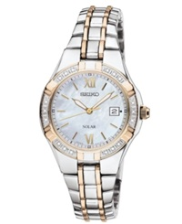 Seiko Watch Women's Solar Diamond Accent Two Tone Stainless Steel Bracelet 27Mm Sut068