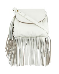 Cynthia Vincent Autumn Leather Fringe Crossbody Bag White