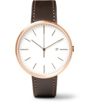 Uniform Wares M40 Rose Gold Pvd Plated Stainless Steel And Cordovan Leather Watch White